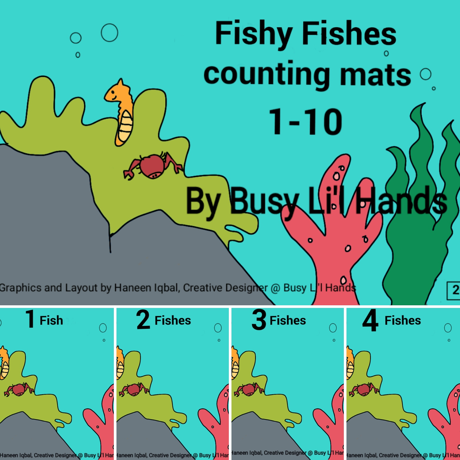 Counting Fishes - Play Dough Mats - Set of 10